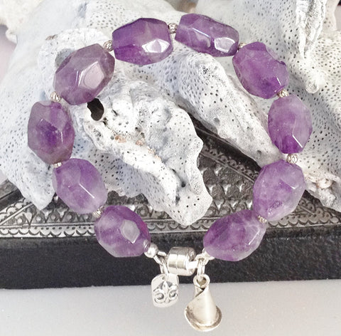 Sterling Silver and Natural Amethyst Bracelet with Charms and Magnetic Clasp Size 6 3/4 inch