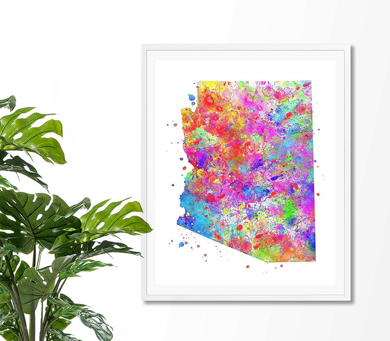 Arizona Map Watercolor Art Print - Unframed - Zuzi's
