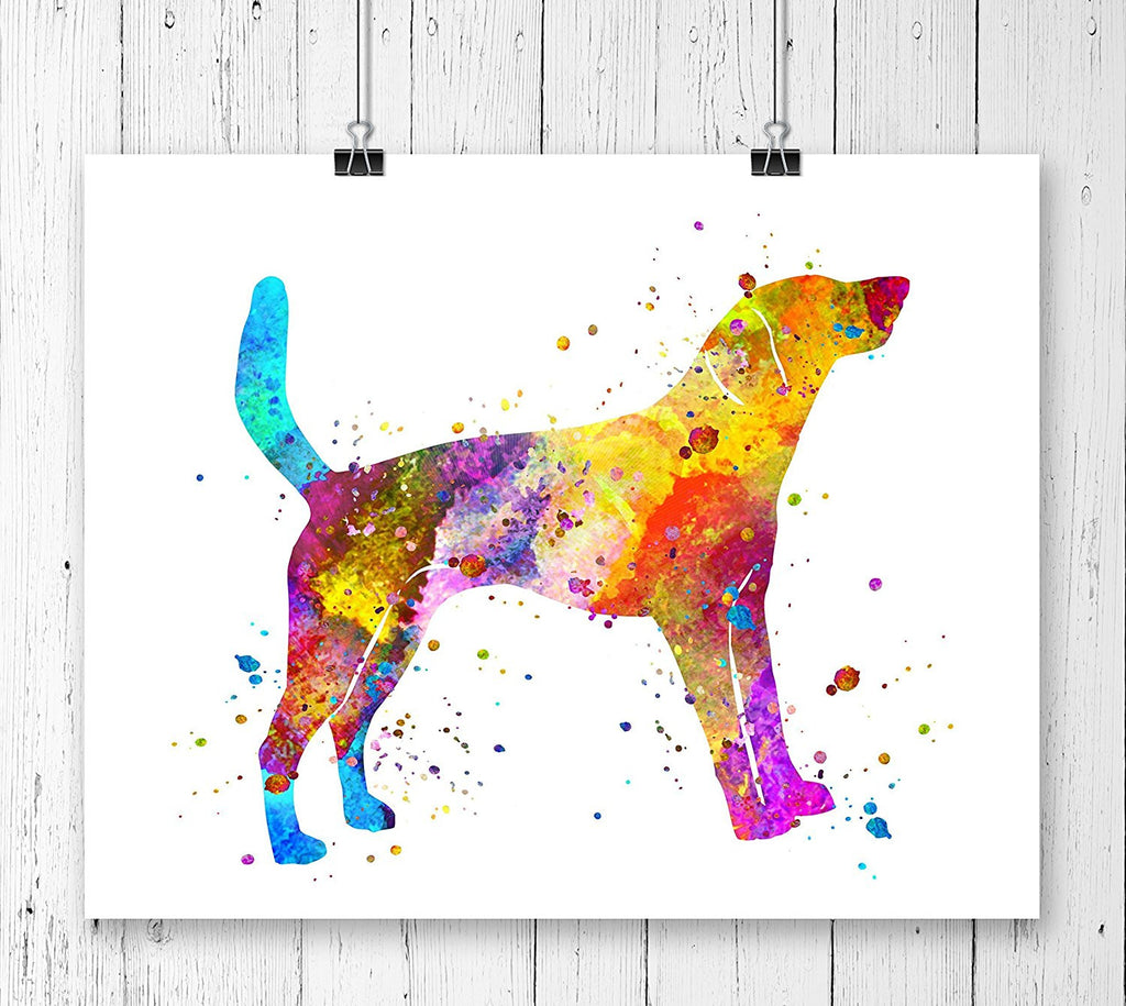 American Foxhound Watercolor Art Print - Unframed