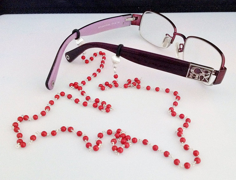 Sterling Silver and Natural Coral Eyeglass/ Sunglass Chain - Zuzi's