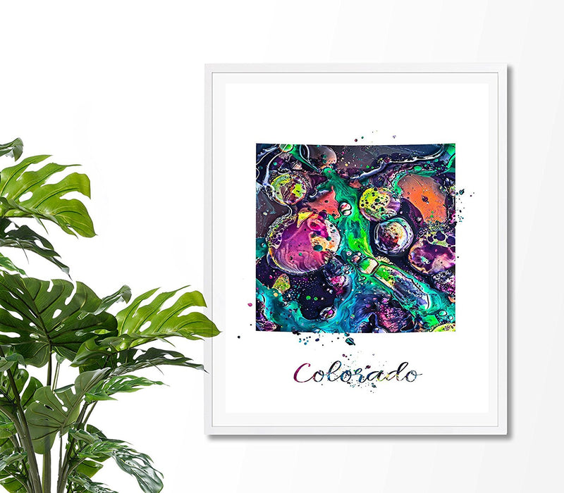 Colorado Map Watercolor Art Print - Unframed - Zuzi's
