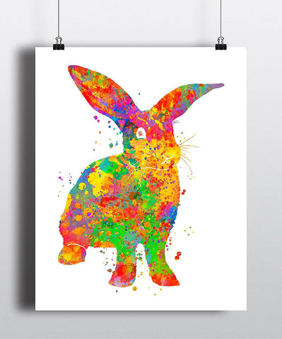 Bunny Rabbit Watercolor Art Print - Unframed