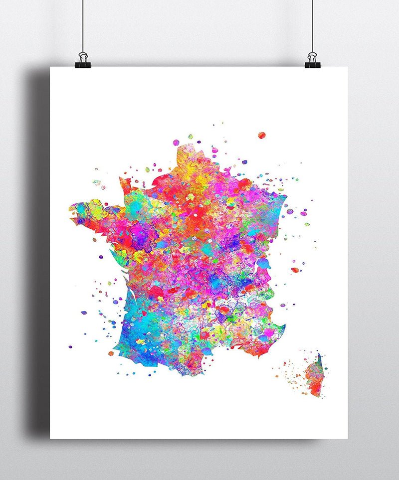 France Map Art Print - Unframed - Zuzi's