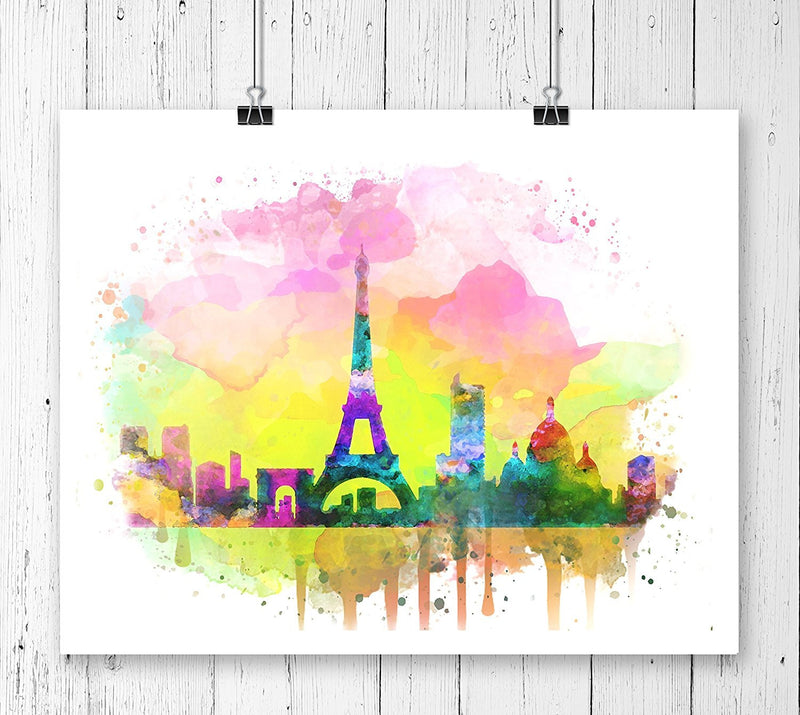 Paris Skyline Watercolor Art Print - Unframed - Zuzi's