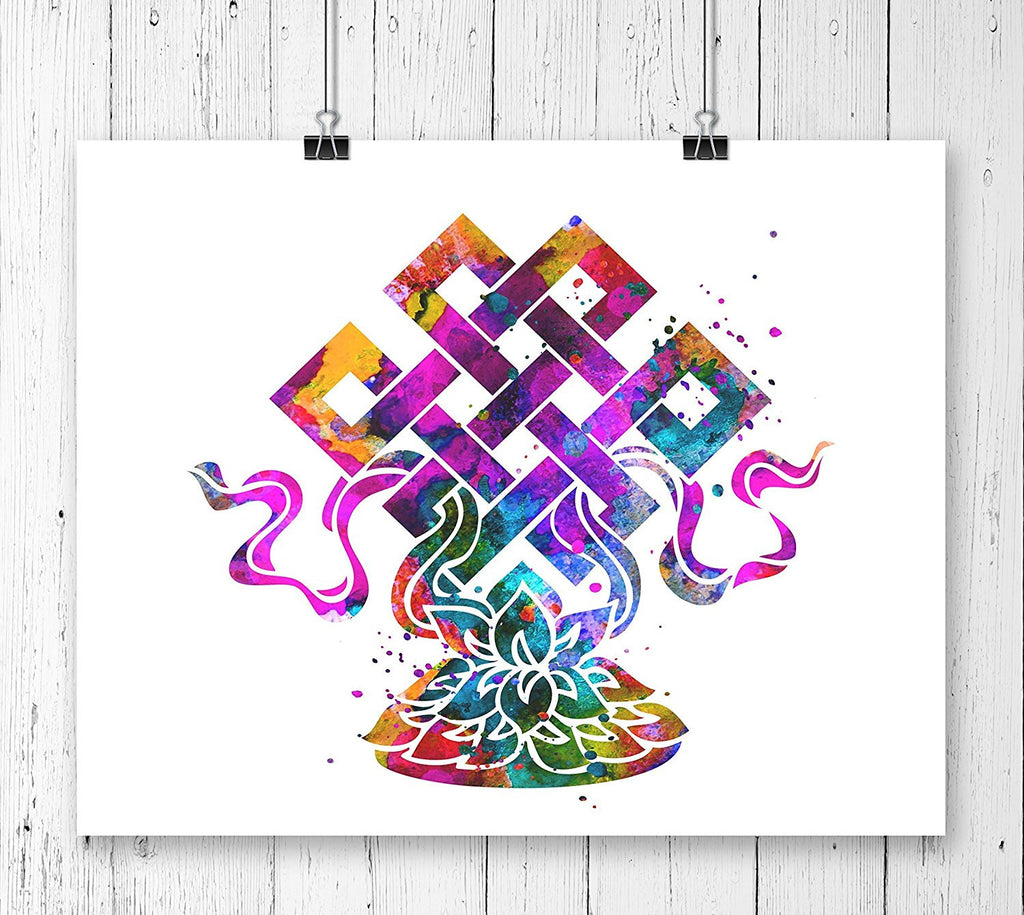 Eternal Knot Lotus Lucky Charm Art Print - Unframed