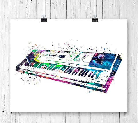 Piano Keyboard Watercolor Art Print - Unframed