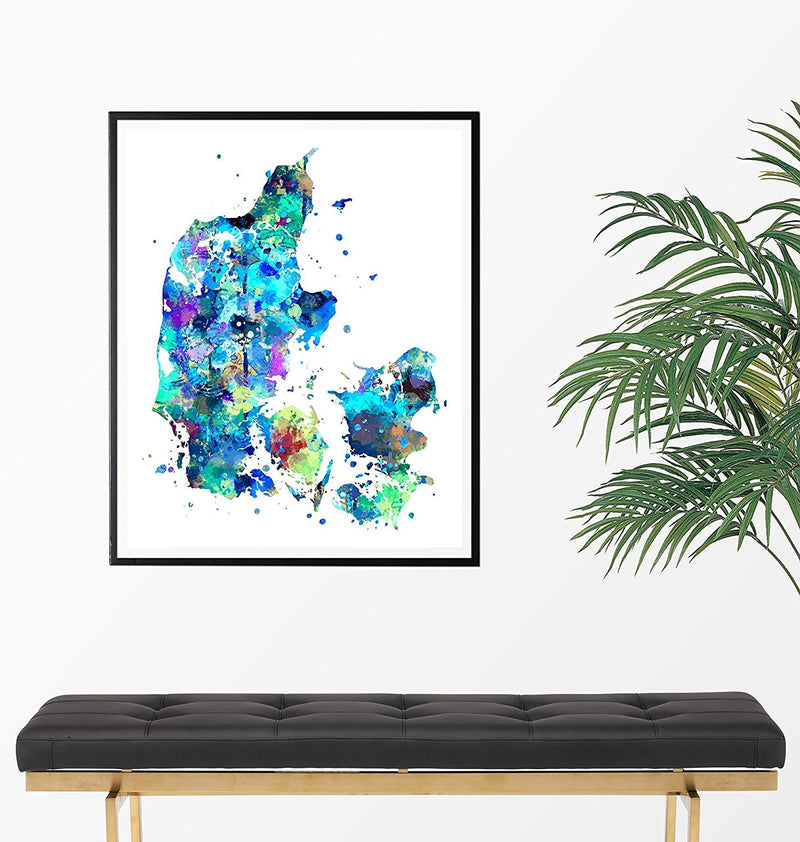 Denmark Map Art Print - Unframed - Zuzi's