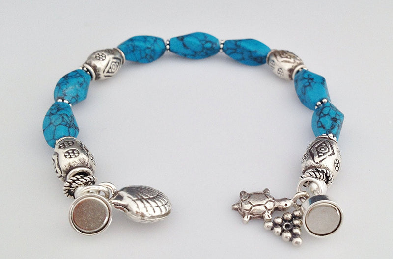 Sterling Silver and Blue Howlite Bracelet with Charms and Magnetic Clasp 6 1/2 inch - Zuzi's