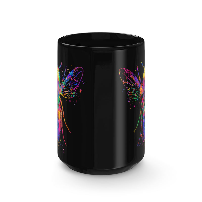 Watercolor Bee Black Mug 15oz - Zuzi's