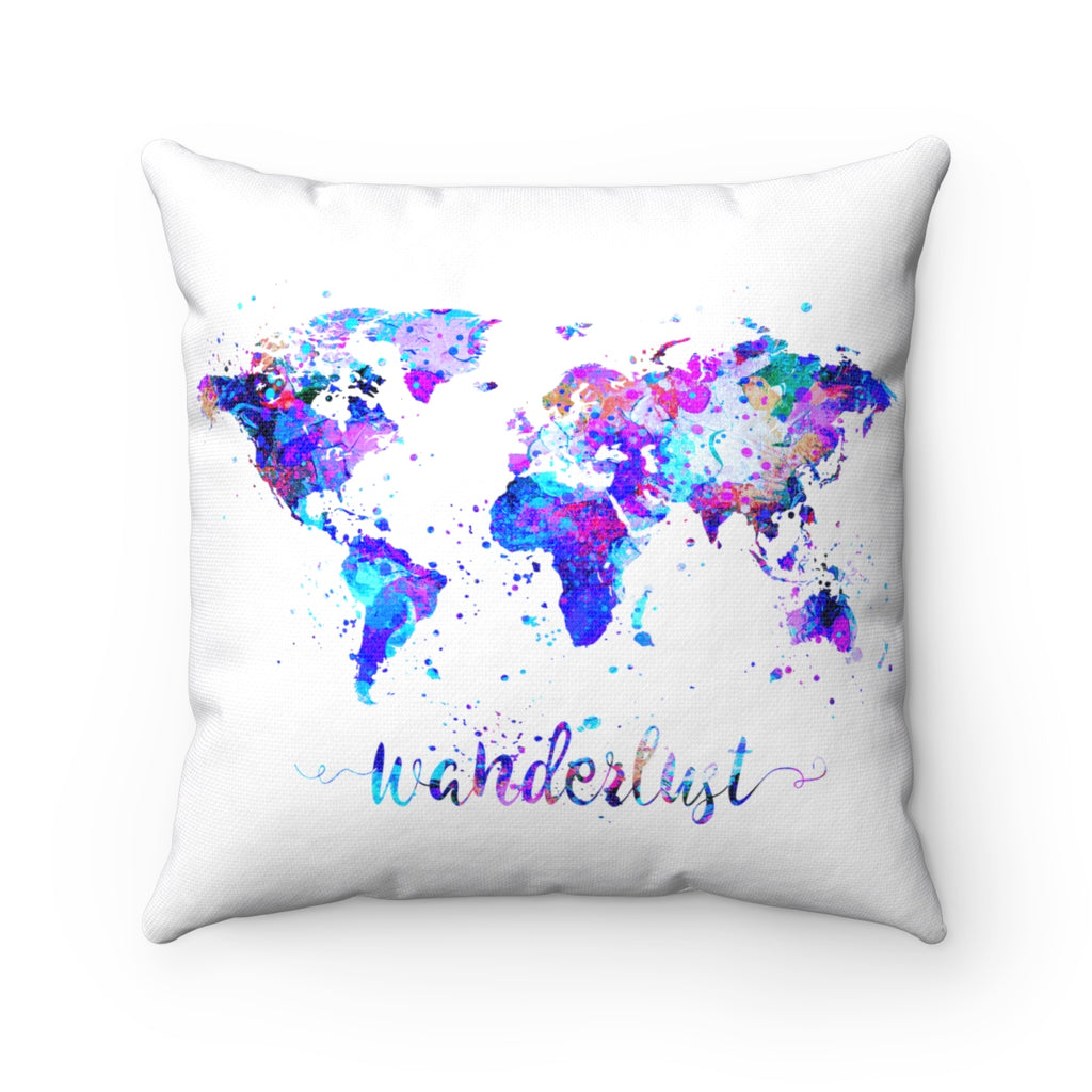 Wanderlust World Map Art Square Pillow