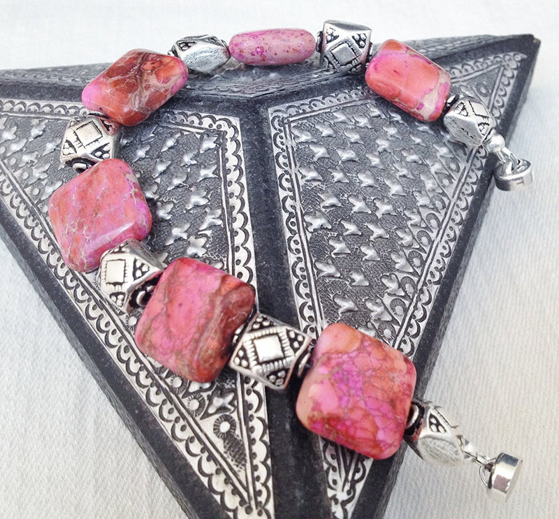 Pink Jasper and Sterling Silver Bracelet with Magnetic Clasp Size 7 1/4 inch