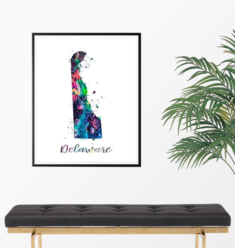 Delaware Map Watercolor Art Print - Unframed - Zuzi's