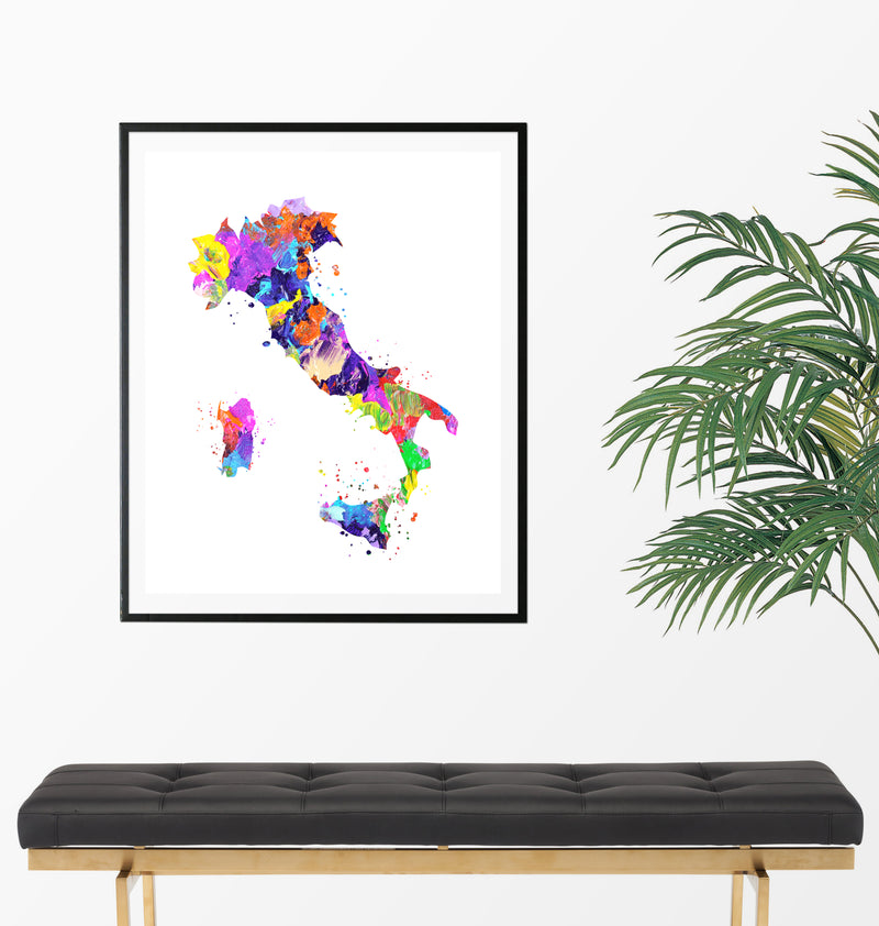 Italy Map Art Print - Unframed - Zuzi's
