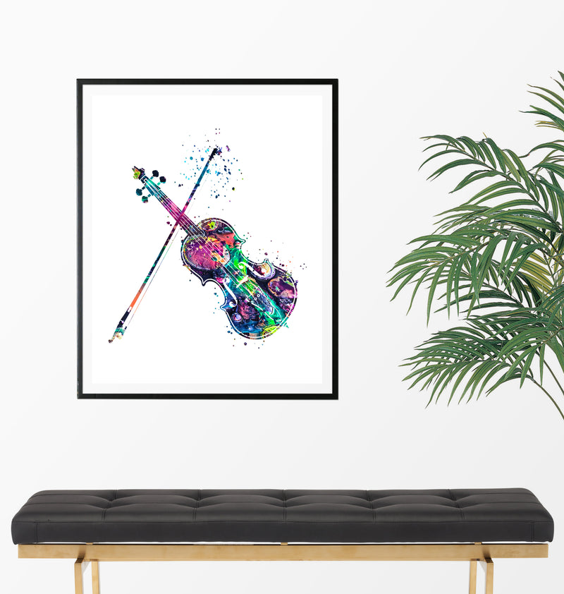 Violin Watercolor Art Print - Unframed - Zuzi's