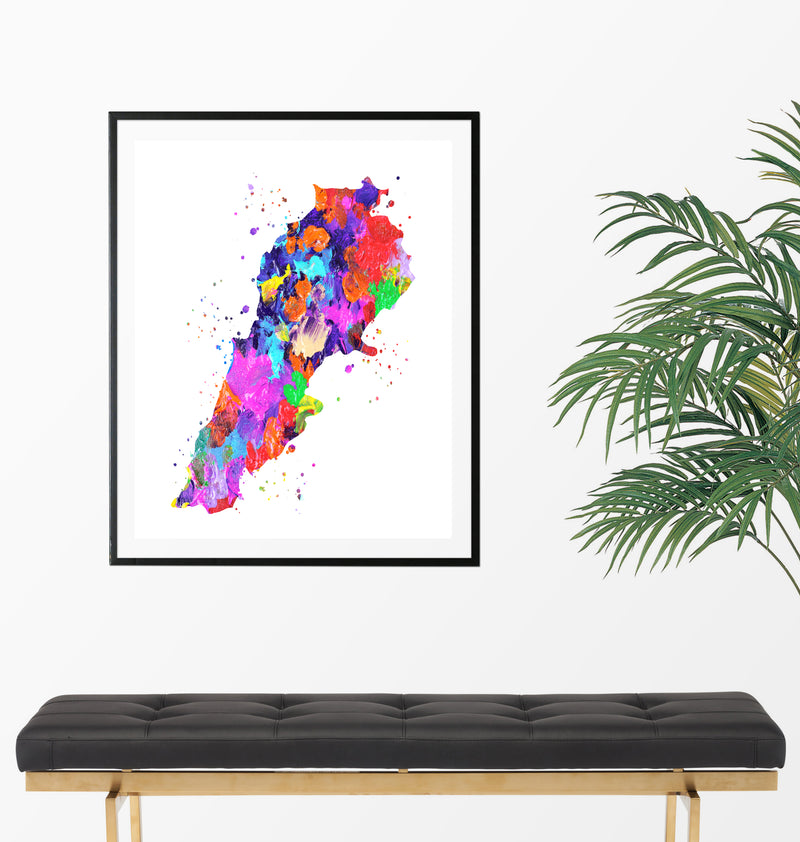 Lebanon Map Art Print - Unframed - Zuzi's