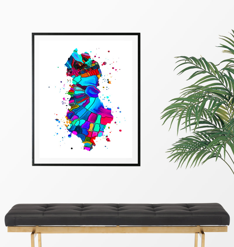 Albania Map Art Print - Unframed - Zuzi's
