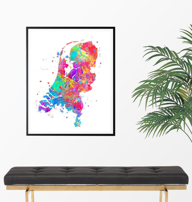 Netherlands Map Art Print - Unframed - Zuzi's