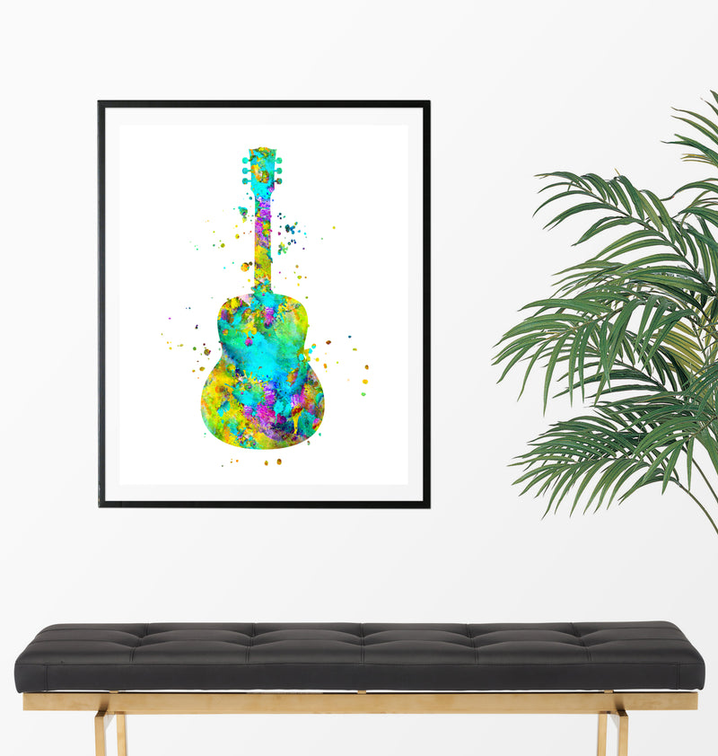 Guitar Watercolor Art Print - Unframed - Zuzi's