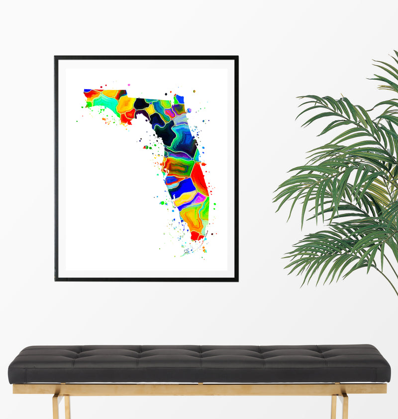 Florida Map Watercolor Art Print - Unframed - Zuzi's