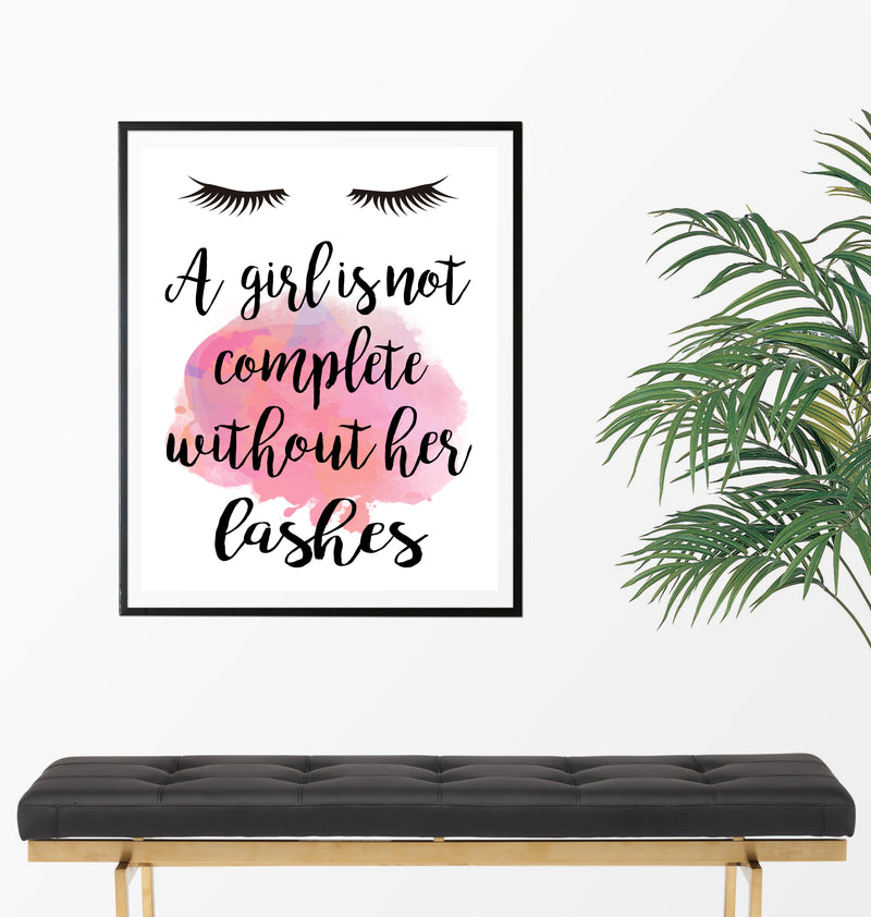 A Girl Is Not Complete Without Her Lashes Art Print - Unframed - Zuzi's