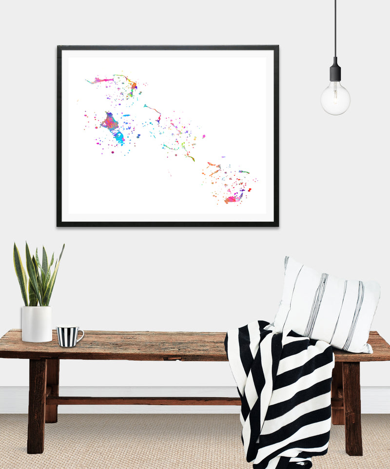 Bahamas Map Art Print - Unframed - Zuzi's