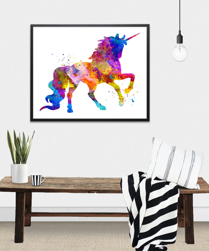 Watercolor Unicorn Art Print - Unframed