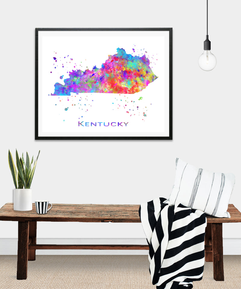 Kentucky Map Art Print - Unframed - Zuzi's