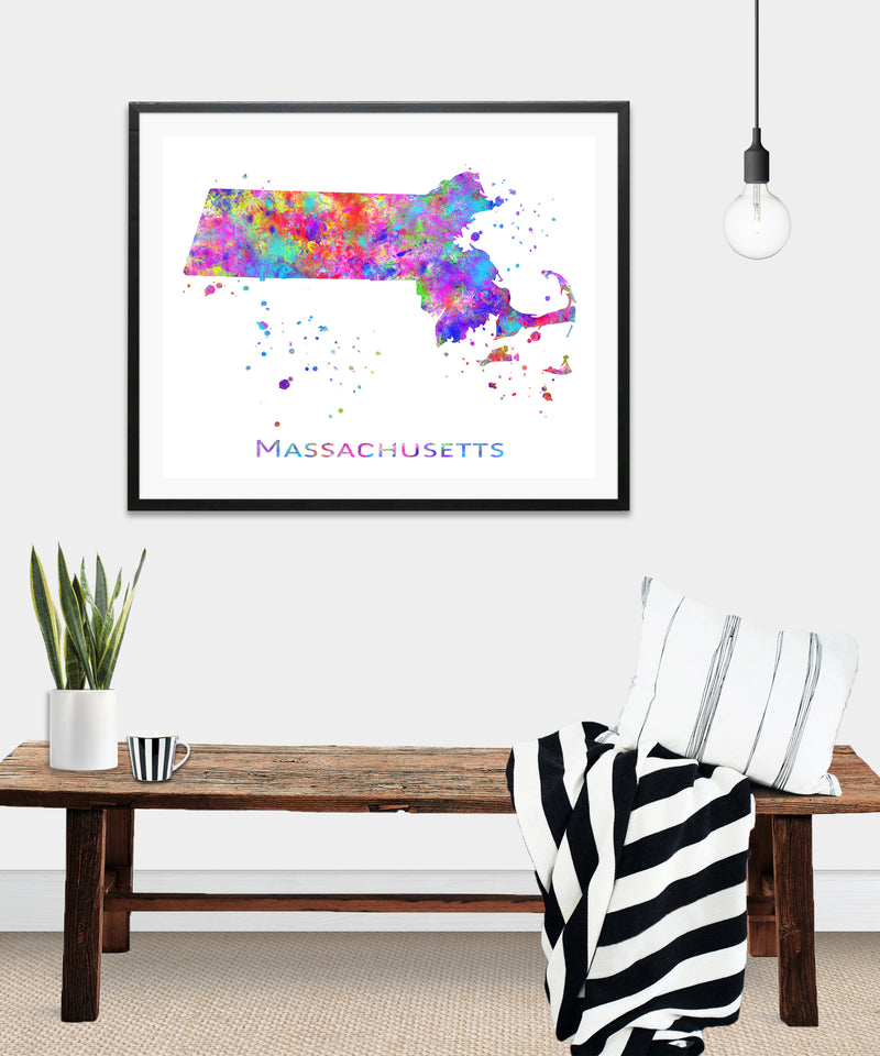 Massachusetts Map Art Print - Unframed - Zuzi's