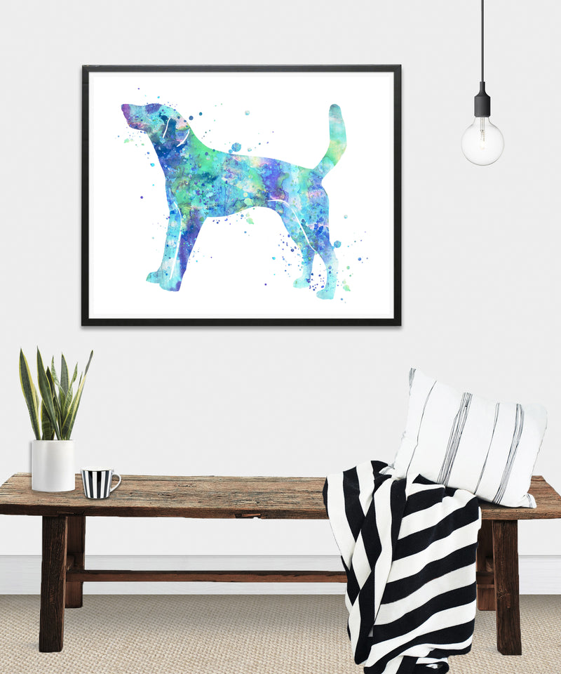American Foxhound Watercolor Art Print - Unframed - Zuzi's