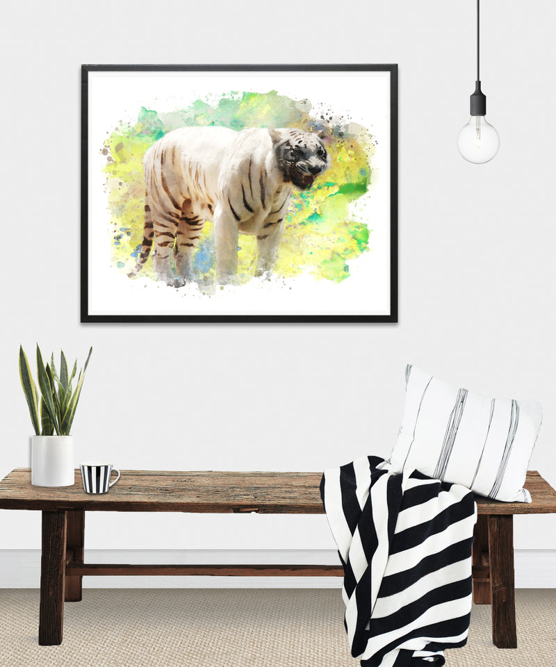 White Tiger Watercolor Art Print - Unframed - Zuzi's