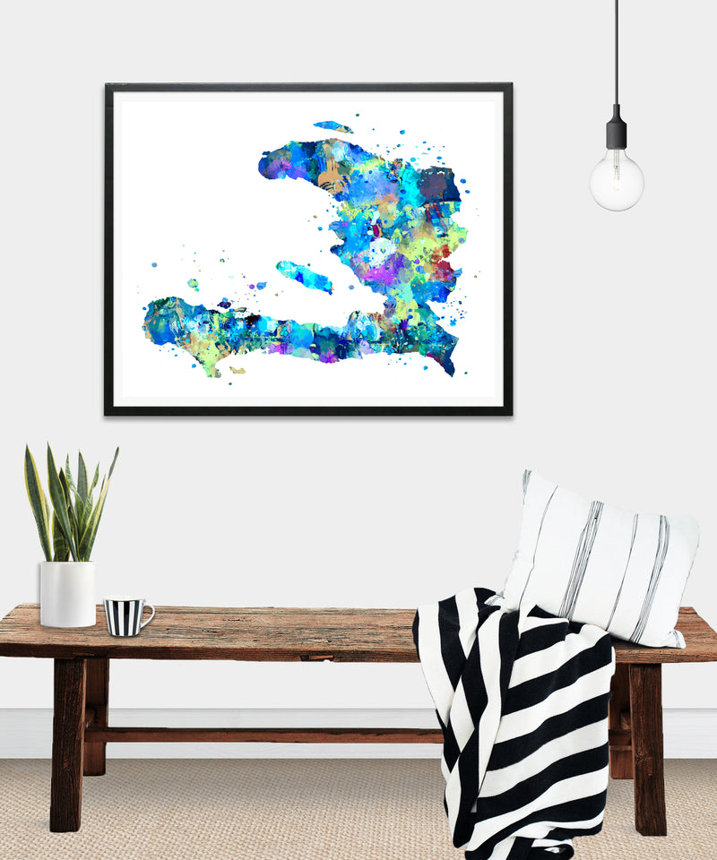 Haiti Map Art Print - Unframed - Zuzi's