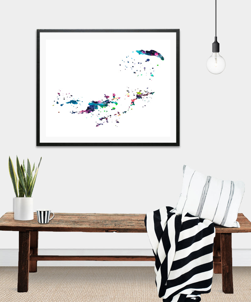 British Virgin Islands Map Art Print - Unframed - Zuzi's