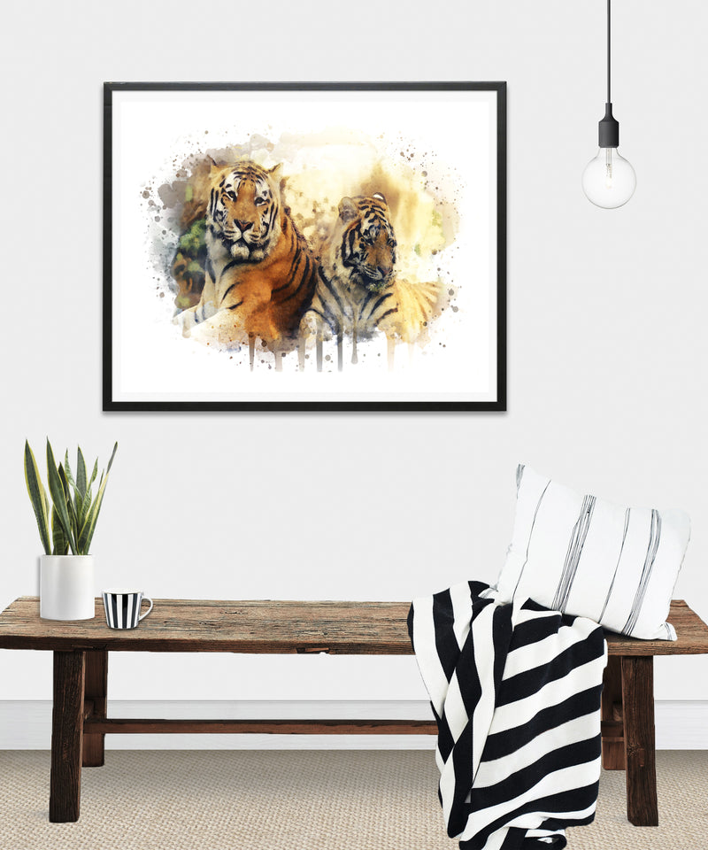 Tigers Watercolor Art Print - Unframed - Zuzi's