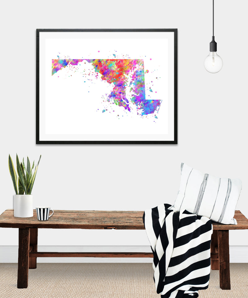 Maryland Map Art Print - Unframed - Zuzi's