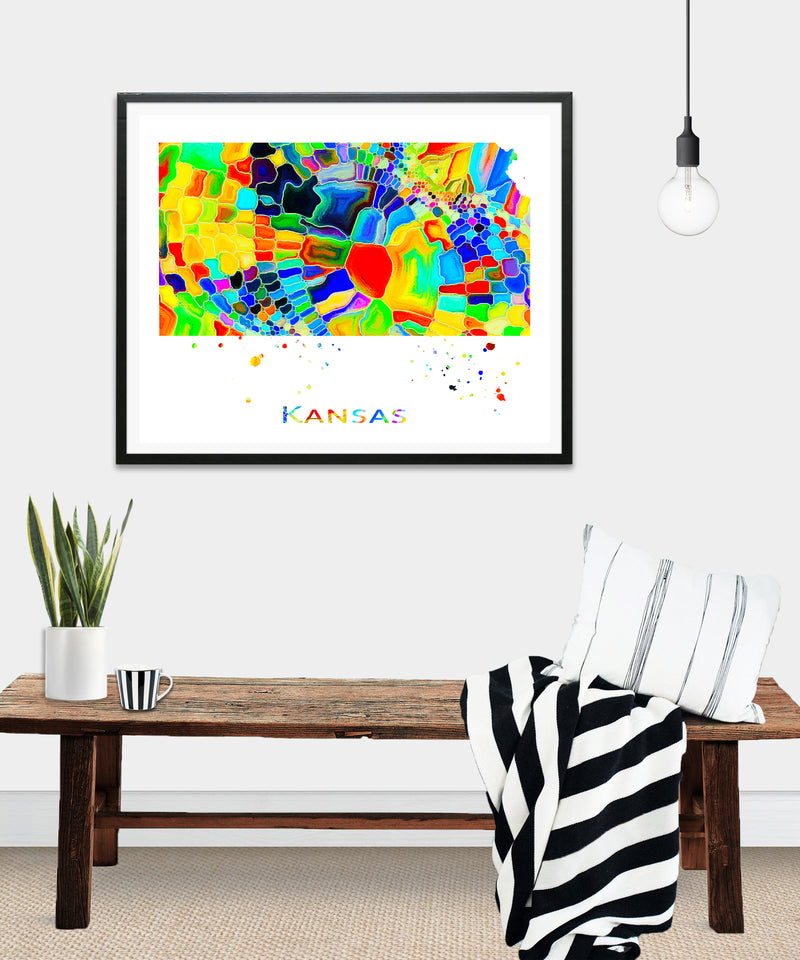 Kansas Map Art Print - Unframed - Zuzi's