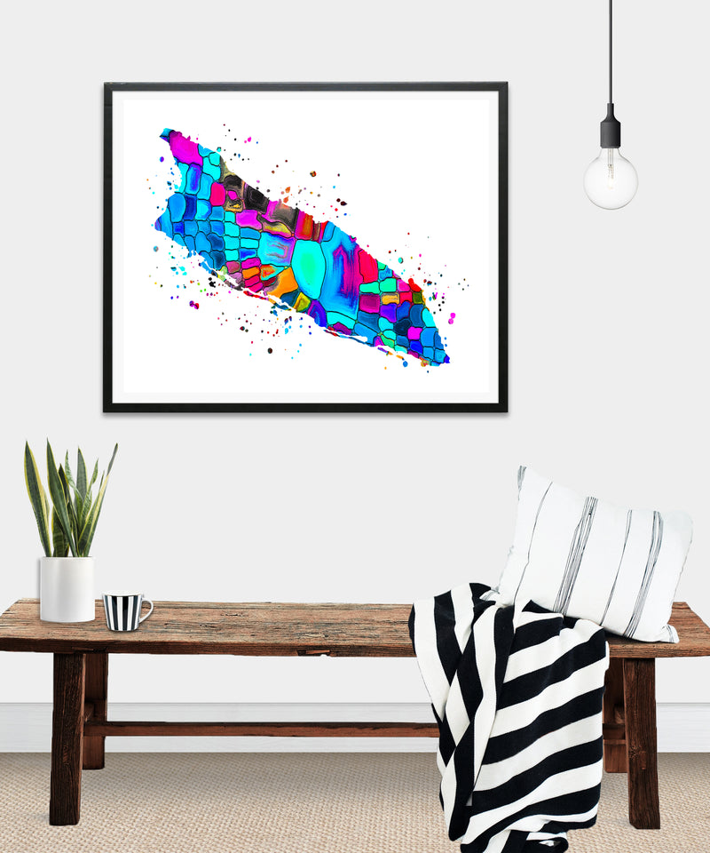 Aruba Map Watercolor Art Print - Unframed - Zuzi's