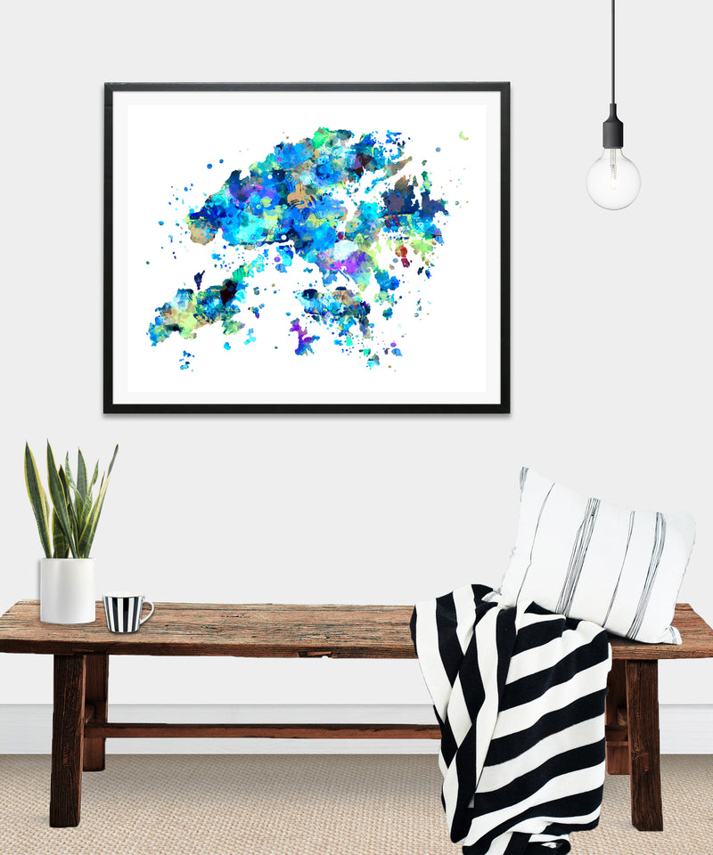 Hong Kong Map Art Print - Unframed - Zuzi's