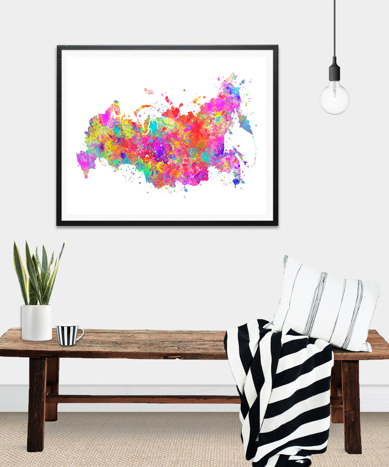 Russia Map Art Print - Unframed - Zuzi's