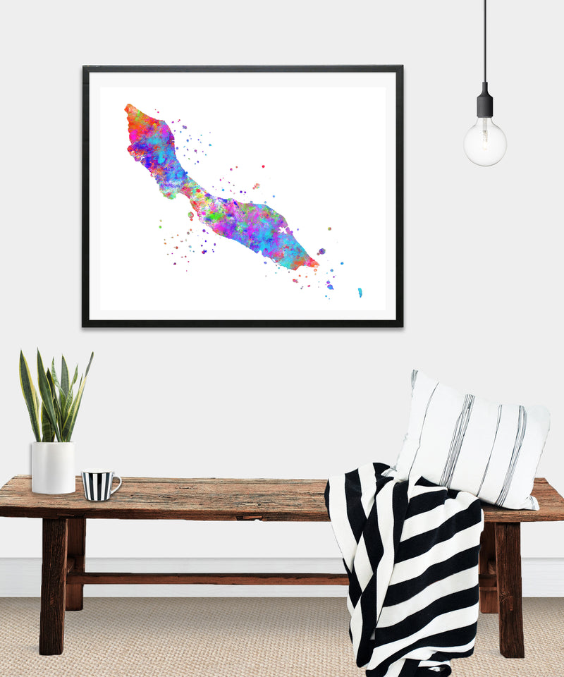 Curacao Map Art Print - Unframed - Zuzi's