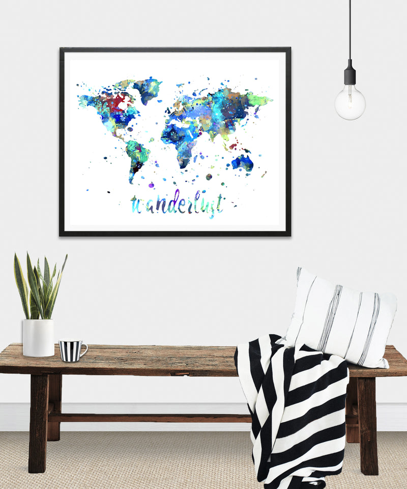 Wanderlust World Map Watercolor Art Print - Unframed - Zuzi's