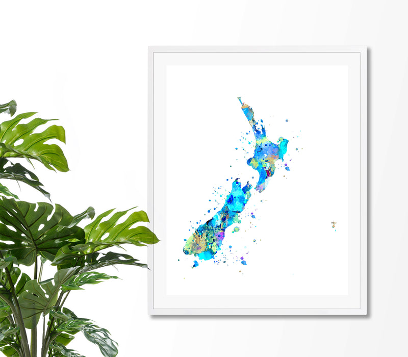 New Zealand Map Art Print - Unframed - Zuzi's