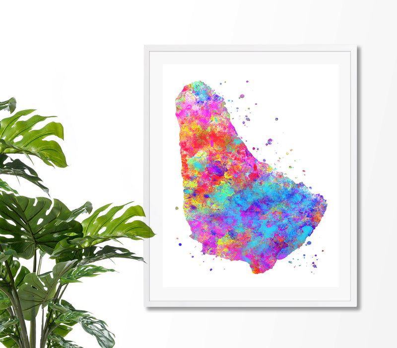 Barbados Map Art Print - Unframed - Zuzi's