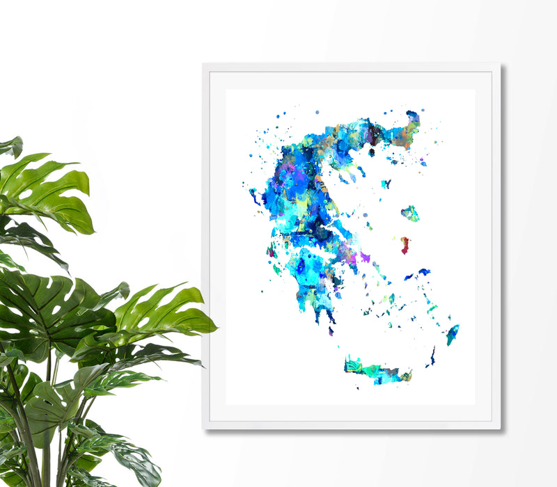 Greece Map Art Print - Unframed - Zuzi's