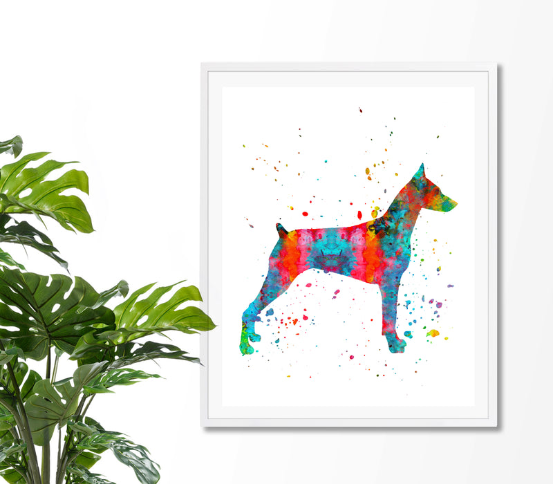 Doberman Watercolor Art Print - Unframed