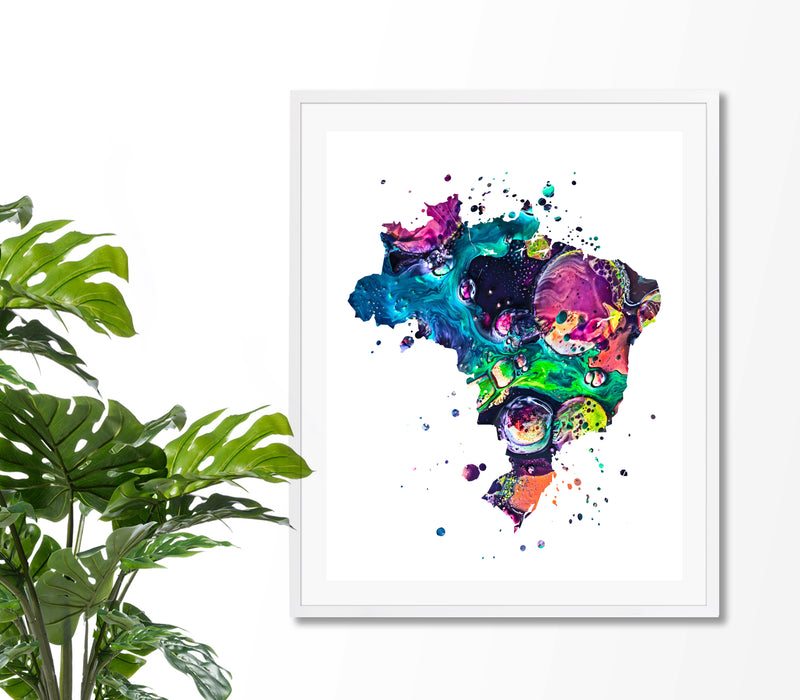 Brazil Map Art Print - Unframed - Zuzi's