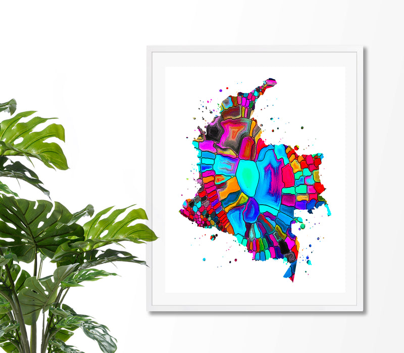 Colombia Map Art Print - Unframed - Zuzi's