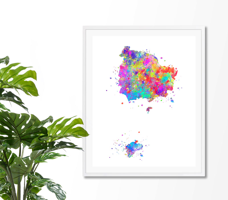 Norfolk Island Map Art Print - Unframed - Zuzi's