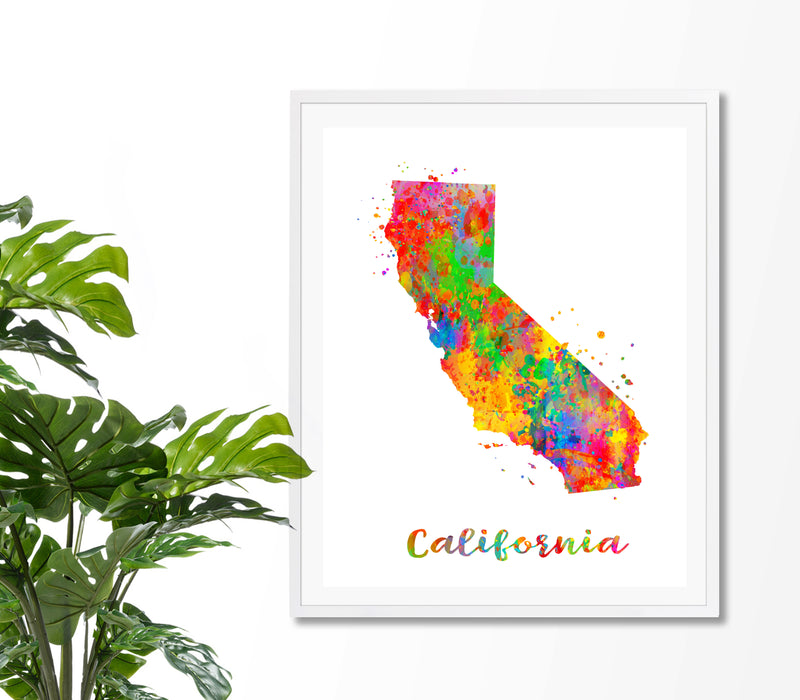 California Map Watercolor  Art Print - Unframed - Zuzi's
