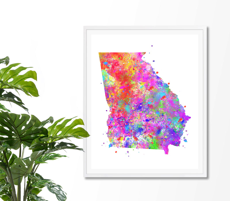 Georgia Map Watercolor Art Print - Unframed - Zuzi's