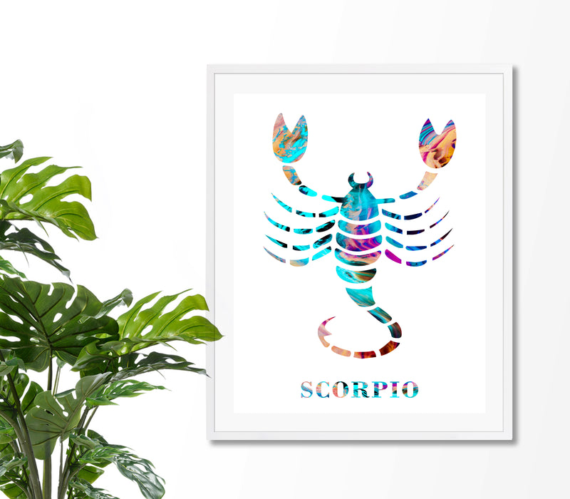 Scorpio Astrology Art Print - Unframed - Zuzi's